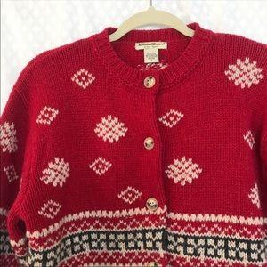 Eddie Bauer Sweaters - Eddie Bauer Holiday Cardigan Knit Petite Red Snow
